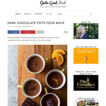 Dark chocolate pots four ways