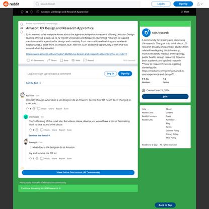 r/UXResearch - Amazon: UX Design and Research Apprentice