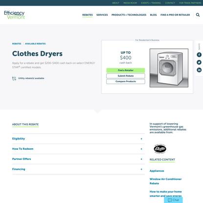 Clothes Dryers | Efficiency Vermont