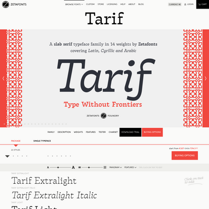 Tarif Typeface by Zetafonts
