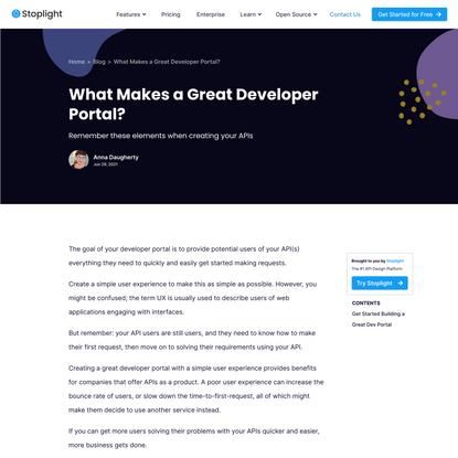 What Makes a Great Developer Portal?