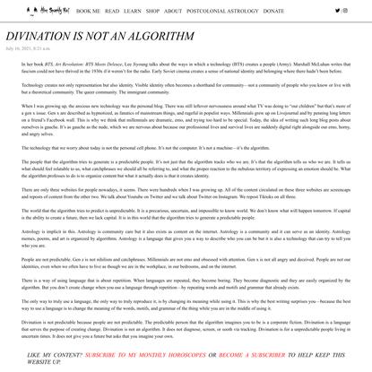 Divination is not an algorithm