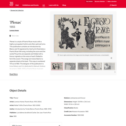 Lorenzo Homar | 'Plenas' | The Metropolitan Museum of Art
