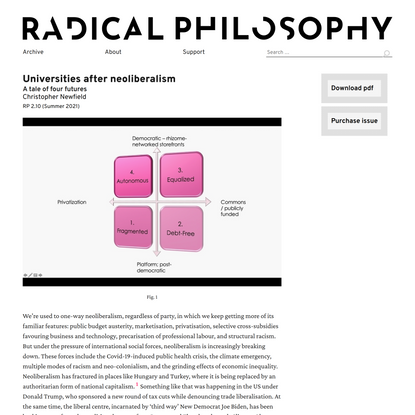 Christopher Newfield: Universities after neoliberalism / Radical Philosophy
