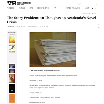 The Story Problem: 10 Thoughts on Academia's Novel Crisis - The Millions