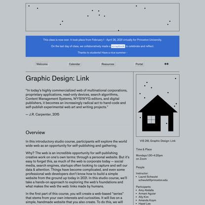 Spring 2021, Graphic Design: Link (VIS 218), Princeton University ... Welcome
