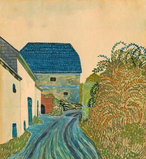 Weg im Dorf / Way in the village, Franz von Zülow. Austrian (1883 - 1963)  - Gouache on Paper -