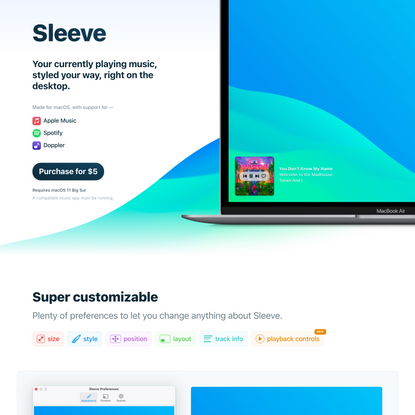 Sleeve — Now playing on your Desktop
