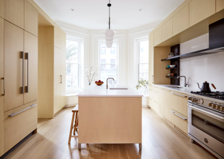 the-one-time-guest-bedroom-on-the-parlor-level-is-now-the-kitchen-where-one-of-the-draws-is-the-island-raised-on-a-brushed-s...