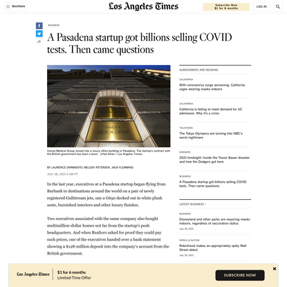 A Pasadena startup got billions selling COVID tests. Then came questions