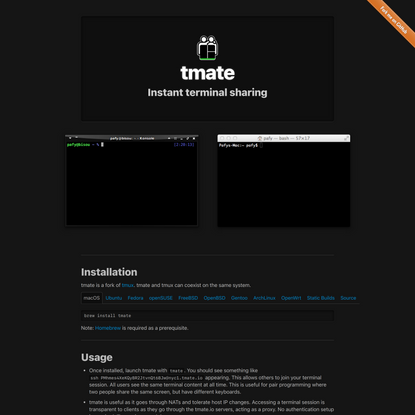 tmate • Instant terminal sharing