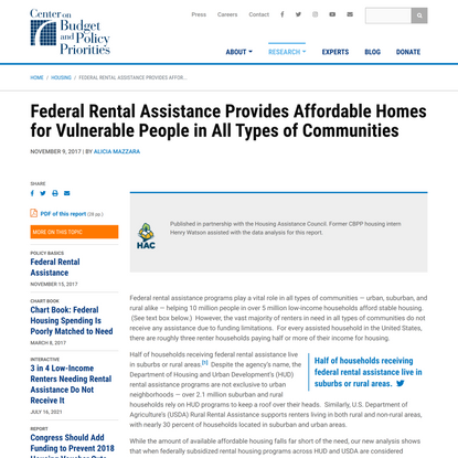 Federal Rental Assistance Provides Affordable Homes for Vulnerable People in All Types of Communities   Center on Budget and...