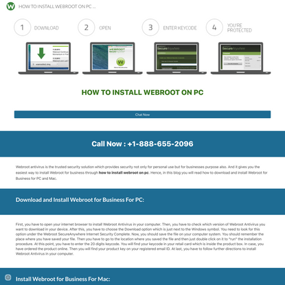 HOW TO INSTALL WEBROOT ON PC +1-888-655-2096