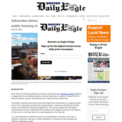 Advocates denounce NYCHA hearing on public housing reform — Queens Daily Eagle