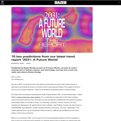 10 key predictions from our latest trend report '2031: A Future World' | Dazed
