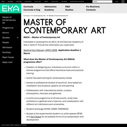 Master of Contemporary Art — Estonian Academy of Arts