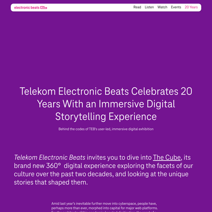 Telekom Electronic Beats Celebrates 20 Years With an Immersive Digital Storytelling Experience