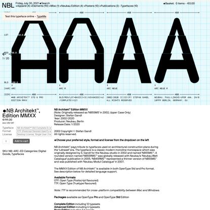 NBL — NB Architekt™, Edition MMXX