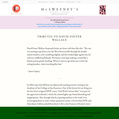Tributes to David Foster Wallace - McSweeney's Internet Tendency