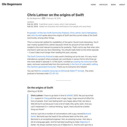 Chris Lattner on the origins of Swift – Ole Begemann