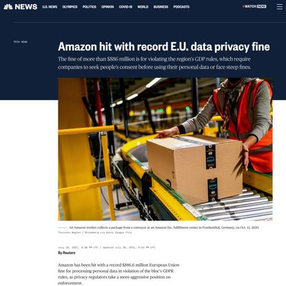 Amazon hit with record E.U. data privacy fine