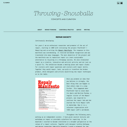 Repair Society – Throwing Snowballs
