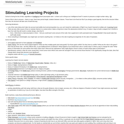 Stimulating Learning Projects