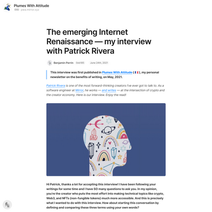 The emerging Internet Renaissance — my interview with Patrick Ri… — Mirror