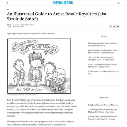 An Illustrated Guide to Artist Resale Royalties (aka 'Droit de Suite')