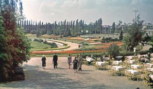 Summer garden at the Radio Tower, 1940s (original color)