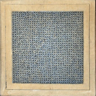 Blue Flower, 1962 by Agnes Martin | Oil, glue, nails, and canvas collage on canvas stretched over panel