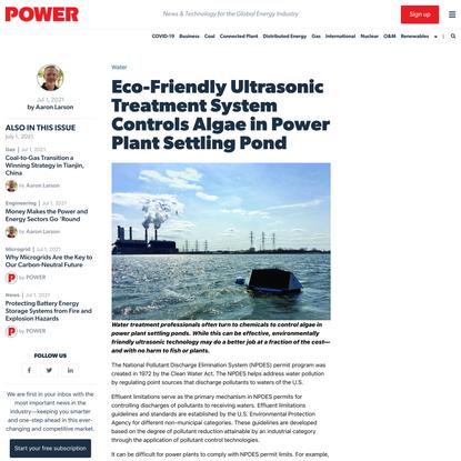 Eco-Friendly Ultrasonic Treatment System Controls Algae in Power Plant Settling Pond