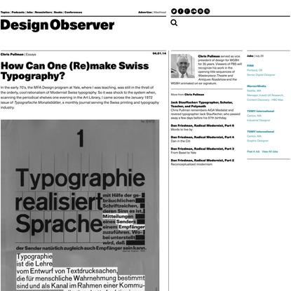 How Can One (Re)make Swiss Typography?