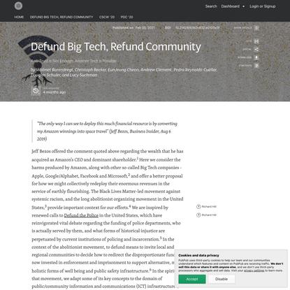 Defund Big Tech, Refund Community · Tech Otherwise