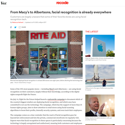 From Macy's to Albertsons, facial recognition is already everywhere