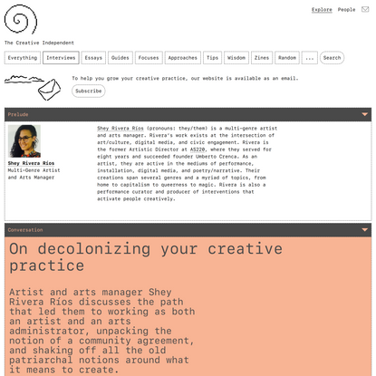 Artist and arts manager Shey Rivera Ríos on decolonizing your creative practice – The Creative Independent