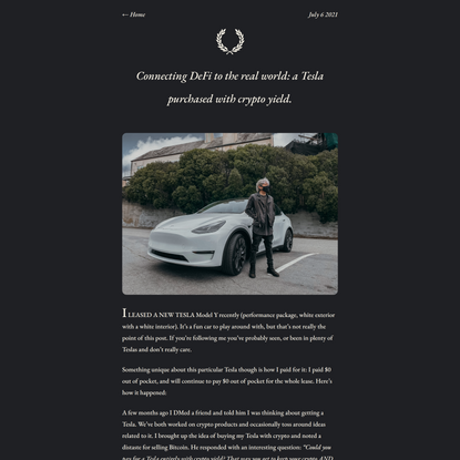 Connecting DeFi to the real world: a Tesla purchased with crypto yield. • Aaron.Ng