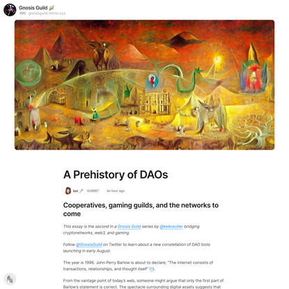 A Prehistory of DAOs — Mirror