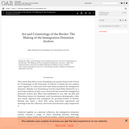 Art and Criminology of the Border: The Making of the Immigration Detention Archive - O A R