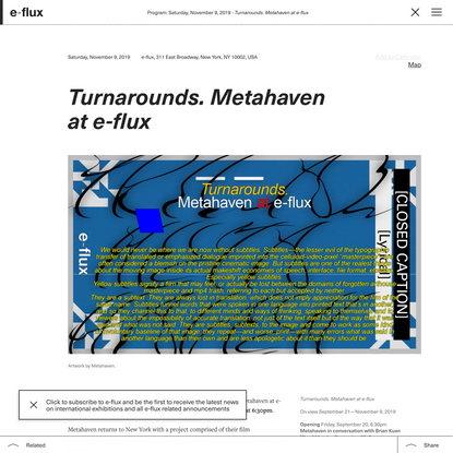 Turnarounds. Metahaven at e-flux