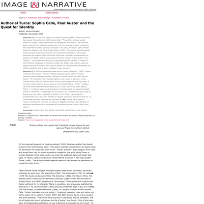 Image and Narrative - Article