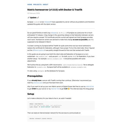 Matrix homeserver (v1.0.0) with Docker & Traefik