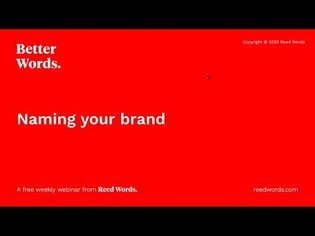 Better Words: Naming your brand