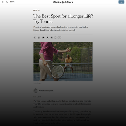 The Best Sport for a Longer Life? Try Tennis. (Published 2018)