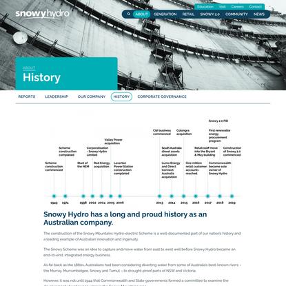 History - Snowy Hydro