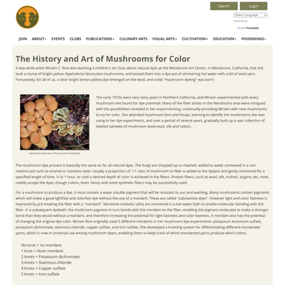 History and Art of Mushroom Dyes for Color - North American Mycological Association