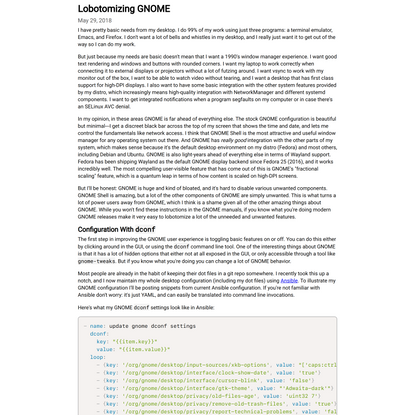 Lobotomizing GNOME
