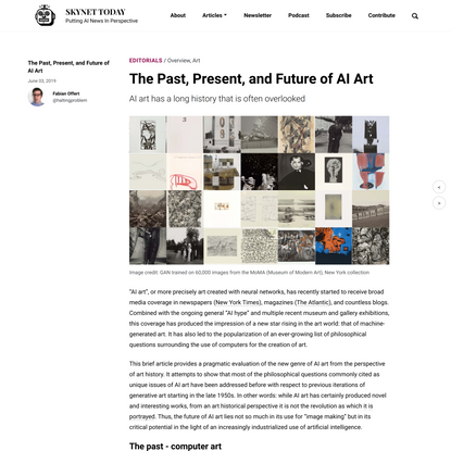 The Past, Present, and Future of AI Art