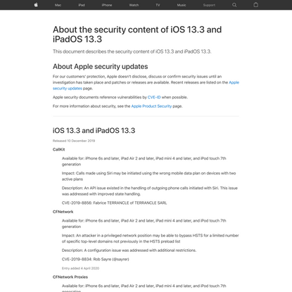 About the security content of iOS 13.3 and iPadOS 13.3 – Apple Support (UK)