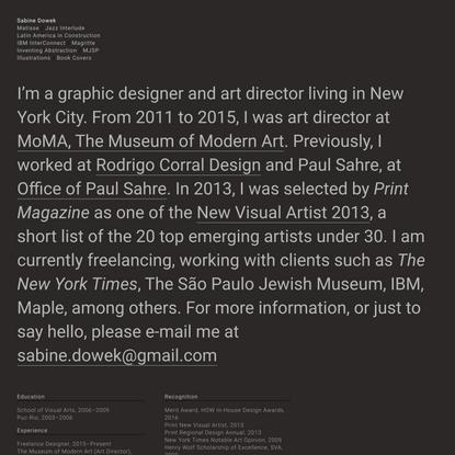 About—Sabine Dowek